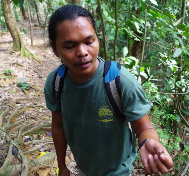 Josef with ant in Bukit Lawang